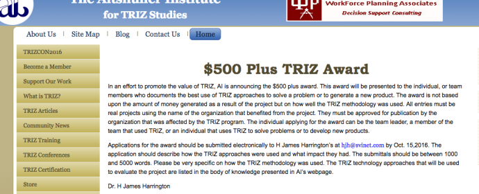 $500 Plus TRIZ Award