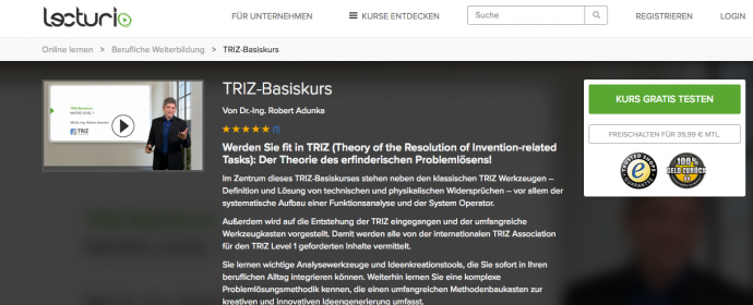 TRIZ-Basiskurs per E-Learning bei Lecturio